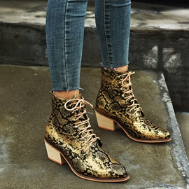 Lace-Up Front Chunky Heel Serpentine Vintage Ankle Boots