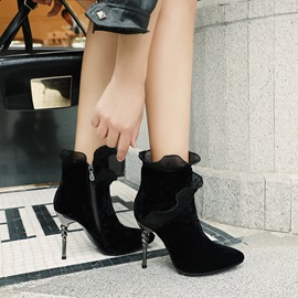 Side Zipper Stiletto Heel Pointed Toe Casual Boots