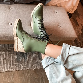 Wedge Heel Patchwork Back Zip Casual Ankle Boots