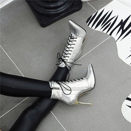 Stiletto Heel Pointed Toe Color Block Zipper Boots