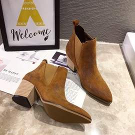 Color Block Chunky Heel Slip-On Vintage Ankle Boots