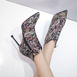 Pointed Toe Stiletto Heel Embroidery Ankle Boots
