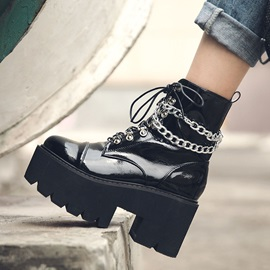 Round Toe Chunky Heel Side Zipper Casual Martin Boots