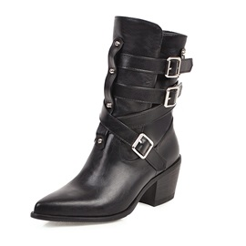 Chunky Heel Hasp Pointed Toe Vintage Boots
