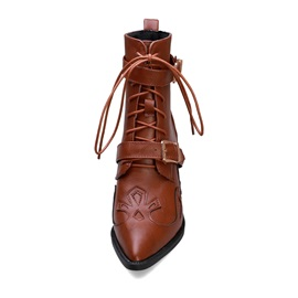 Pointed Toe Plain Lace-Up Front Casual Ankle Boots
