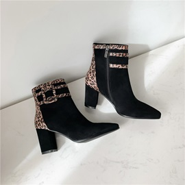 Patchwork Chunky Heel Pointed Toe Side Zipper Ankle Boots