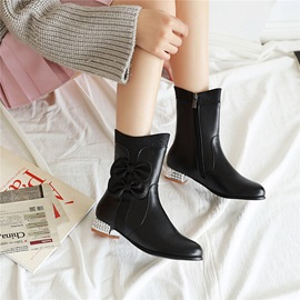 Sequin Side Zipper Round Toe Casual Ankle Boots
