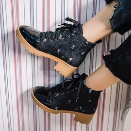 Round Toe Patchwork Lace-Up Front Denim Ankle Boots