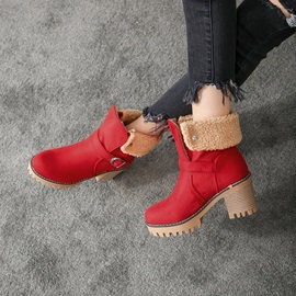 Chunky Heel Round Toe Hasp Casual Purfle Boots