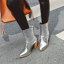 Chunky Heel Pointed Toe Vintage Ankle Boots