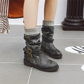 Hasp Patchwork Round Toe Buckle Ankle Boots