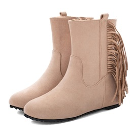 Plain Round Toe Side  Tassel Ankle Boots