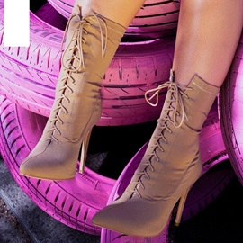 Pointed Toe Lace Up Stiletto Heel Ankle Boots