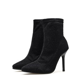 Stiletto Heel Plain Pointed Toe PU Ankle Boots