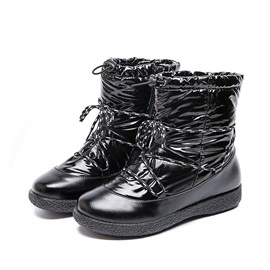 Lace-Up Front Flat With Round Toe Snow Boots