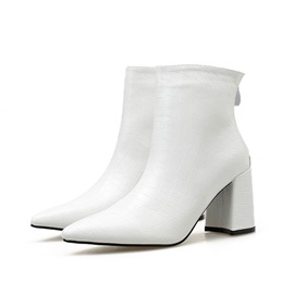 Plain Chunky Heel Pointed Toe Chic Boots