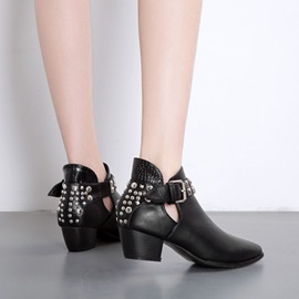 Plain Hasp Chunky Heel Western Ankle Boots