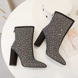 Pointed Toe Back Zip Chunky Heel Rhinestone Ankle Boots