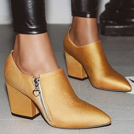 Side  Plain Pointed Toe Vintage Ankle Boots