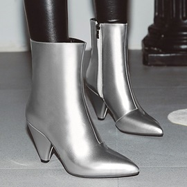 Metallic Pointed Toe Side  Sexy Boots