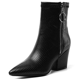 Side Zipper Chunky Heel Pointed Toe Snake Skin Boots