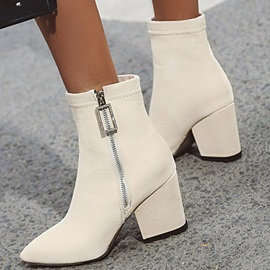 Chunky Heel Side Zipper Plain Casual Boots