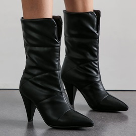 Pointed Toe Plain Slip-On MId Calf Boots