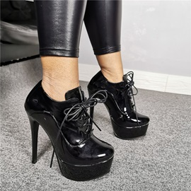 Lace-Up Front Round Toe Casual Women's Ankle Boots