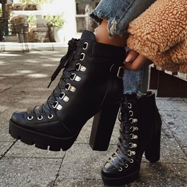 Round Toe Plain Chunky Heel Ankle Boots