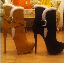 Slip-On Round Toe Fluffy Ankle Boots