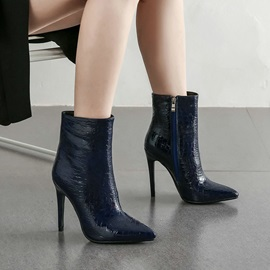 Side Zipper Pointed Toe Plain Casual Boots