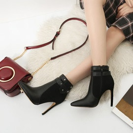 Color Block Side  Pointed Toe Banquet Boots