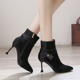 Side Zipper Pointed Toe Thread Ankle Boots