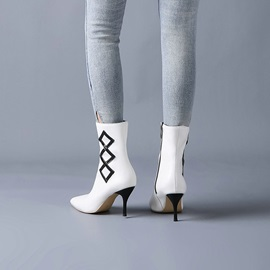 Side Zipper Color Block Pointed Toe Zipper Ankle Boots
