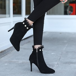 Pointed Toe Patchwork Side Zipper Lace Ankle Boots