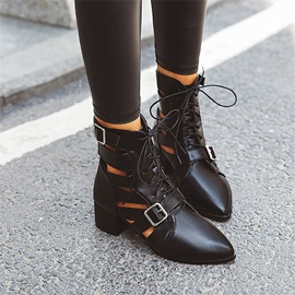Plain Pointed Toe Lace-Up Front PU Boots