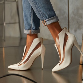 Back Zip Pointed Toe Stiletto Heel Hollow Boots
