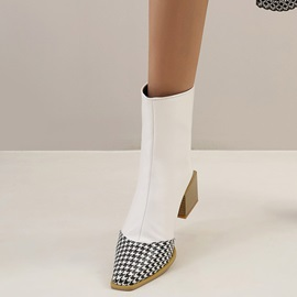 Back Zip Plaid Pointed Toe Zipper Boots