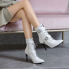 Hasp Stiletto Heel Pointed Toe Cross Strap Boots