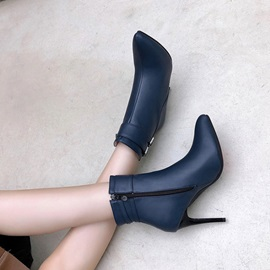 Plain Side Zipper Pointed Toe Buckle Boots