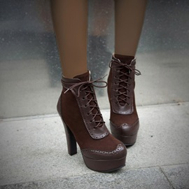 Stiletto Heel Closed Toe Lace-Up Front Short Floss Boots