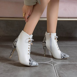 Color Block Pointed Toe Stiletto Heel Serpentine Boots