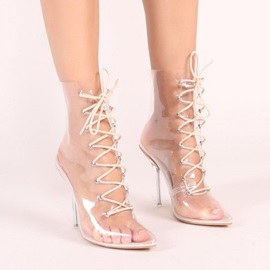 Stiletto Heel Lace-Up Front Pointed Toe Casual Boots