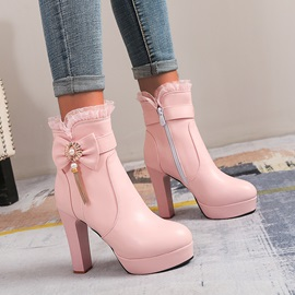 Patchwork Round Toe Side Zipper Sweet Boots