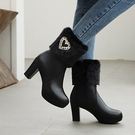 Patchwork Round Toe Chunky Heel Sweet Boots