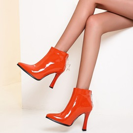 Chunky Heel Back Zip Pointed Toe Short Floss Boots