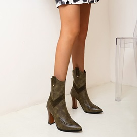 Pointed Toe Plain Back Zip Professional Boots