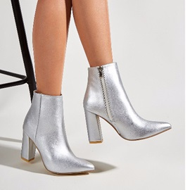 Chunky Heel Side Zipper Pointed Toe Western Boots