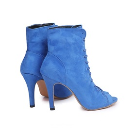 Stiletto Heel Plain Lace-Up Front Thread Boots