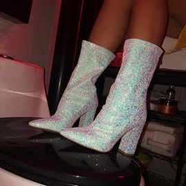 Plain Pointed Toe Chunky Heel Sequin Boots